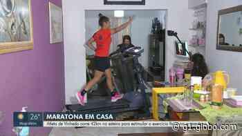 Covid-19: atleta de Vinhedo corre 'maratona' de 42 km em esteira e arrecada alimentos para doação - G1