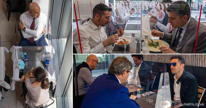 Italian restaurant divided with plexiglass shows what UK dining could look like