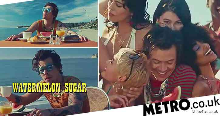 Harry Style frolics on the beach for Watermelon Sugar music video and now we really want a holiday