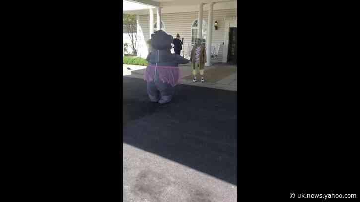 Woman Dons Sterilized Hippo Costume to Hug Her Mom at Retirement Home