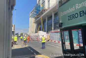 Load falls off lorry near Royal Sussex County Hospital