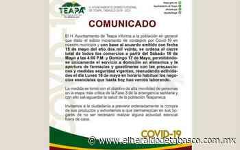 Se suman Nacajuca y Teapa a cierre de comercios en fin de semana - El Heraldo de Tabasco