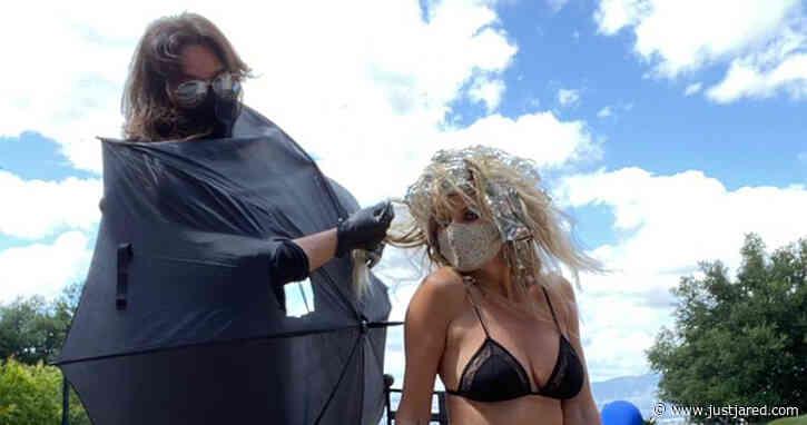Heidi Klum Wears Bra & Fishnets While Getting Socially-Distanced Highlights