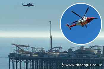 Brighton beach:  Helicopter search for missing children