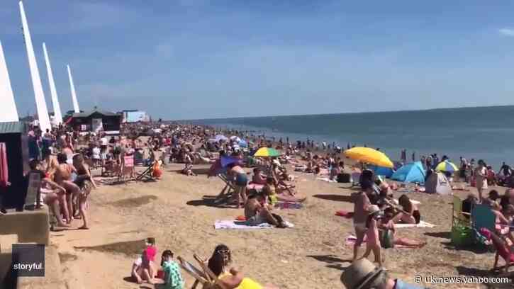 Crowds of People Ignore Social Distancing Guidelines and Gather on Southend Beach