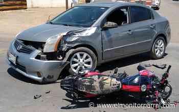 APARATOSO CHOQUE ENTRE VEHÍCULO Y MOTOCICLETA EN LA SALIDA A SANTA BARBARA - El Monitor de Parral