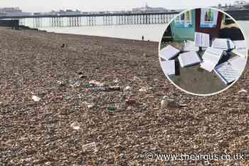 Rubbish left on Brighton beach after hottest day of the year