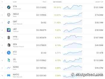 Saturday Crypto Market Gainers: ETN, SEELE, QNT, REN, XTZ - SludgeFeed