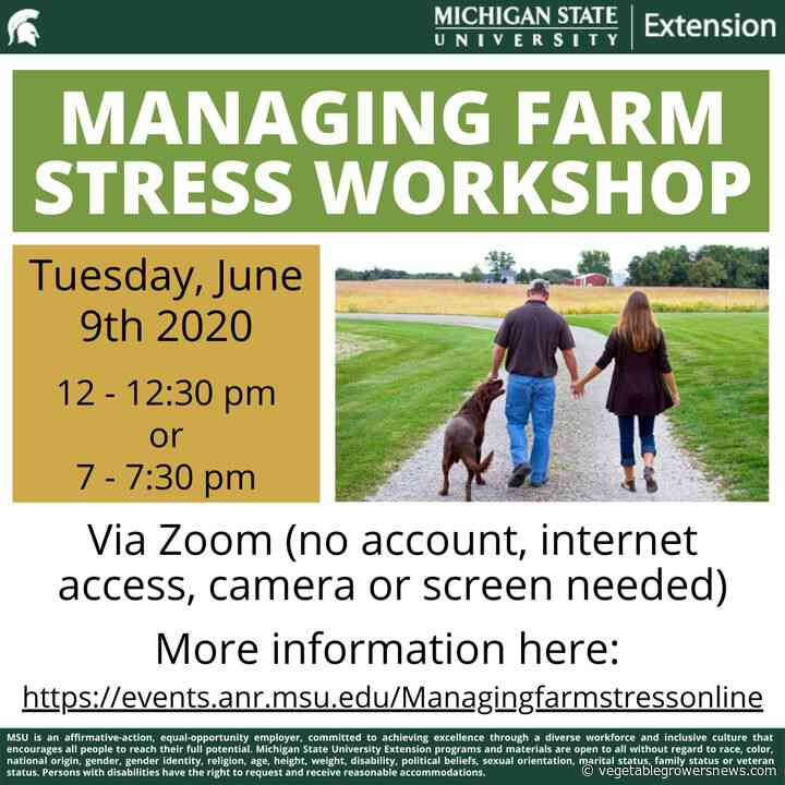 Stress on farmers subject of Michigan State University webinars