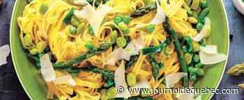 Pappardelles aux lardons, petits pois parmesan