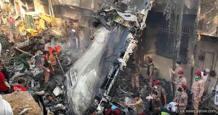 Footage Shows Rescuers Working Amid Plane Wreckage in Karachi