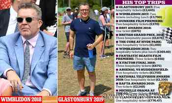 Tom Watson's £20,000 fiesta of freebies from Glastonbury to Wimbledon