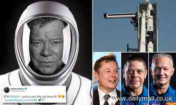 Beam me up, Elon! William Shatner tweets offer to hop aboard historic NASA-Space X flight - Daily Mail