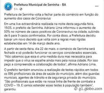 Após aumento de casos de Covid-19, prefeitura de Serrinha volta a fechar parte do comércio; 896 profissionais de saúde vão ser testados - G1