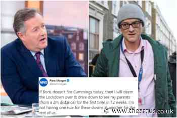 Piers Morgan will drive to Sussex if Cumming's isn't sacked