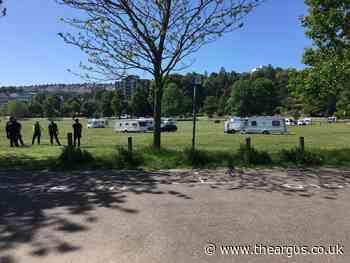 Caravans set up camp at Preston Park, Brighton