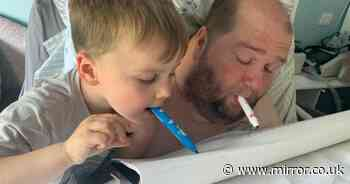 Paralysed dad teaches his son, 4, how to paint with his mouth during  lockdown