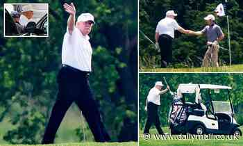Donald Trump is seen golfing for the first time since the outbreak began and shakes hands on course