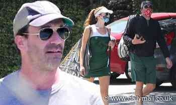 Jon Hamm goes casual as he heads out to play tennis with longtime rumored girlfriend Anna Osceola - Daily Mail