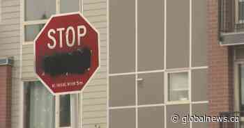 French portion of bilingual stop signs vandalized in Calgary