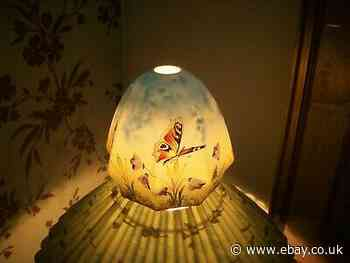 ANTIQUE HAND PAINTED GLASS LAMPSHADE, ELECTRIC.