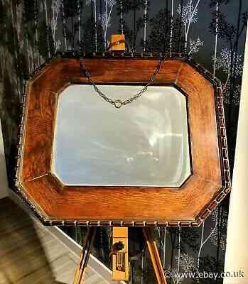 Edwardian Oak Framed Mirror