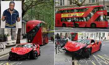 Rapper Swarmz escapes injury after Ferrari supercar crashes with a bus in central London