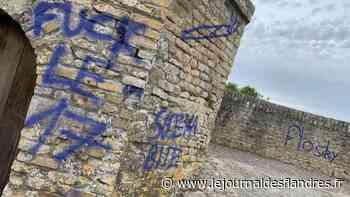 Acte de vandalisme à Bergues : les remparts tagués à la bombe bleue - Le Journal des Flandres