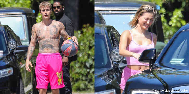 Justin Bieber Plays Basketball Shirtless While Wife Hailey Goes on a Coffee Run With Friends