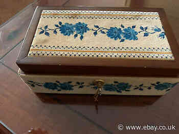 Antique Velvet & Wood Blue Floral Jewelery Box /Key From Italy Beautiful!!!