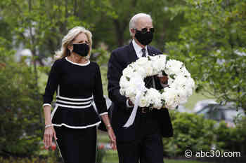 Joe Biden makes 1st in-person appearance in more than 2 months, lays wreath at veterans park