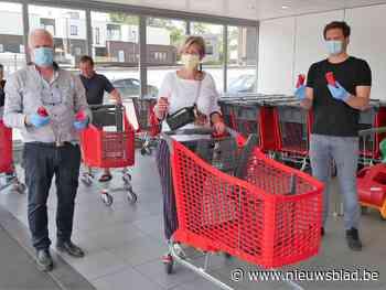 AD Delhaize Deinze heeft afneembare handvatten voor winkelkarren