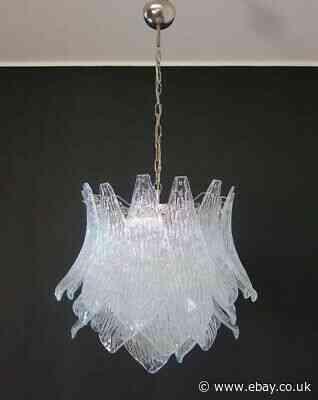 Italian vintage Murano Glass chandelier - 38 trasparent glasses