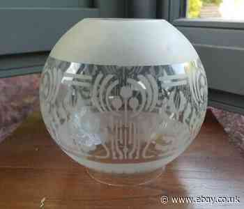 Original Victorian stencil acid etched Glass Oil Lamp Shade 4 inch fitter