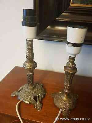 Two Vintage Gilt Metal Small Lamps In The French Style