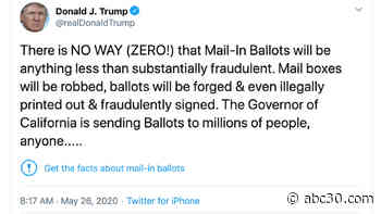 In a first, Twitter adds fact-check warnings to Trump tweets about mail-in voting