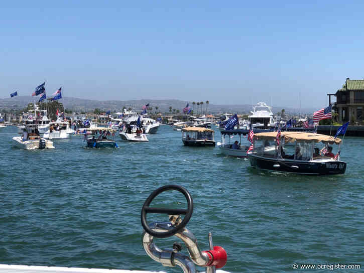 Boaters parade Newport Harbor for Trumptilla on Memorial Day