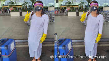 With face shield, mask and gloves on, Radhika Madan happily flies to hometown, Delhi
