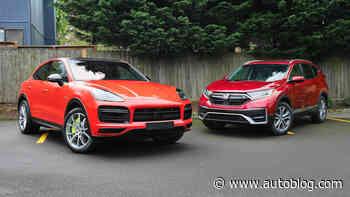 2020 Honda CR-V Hybrid vs 2020 Porsche Cayenne Coupe Turbo S E-Hybrid
