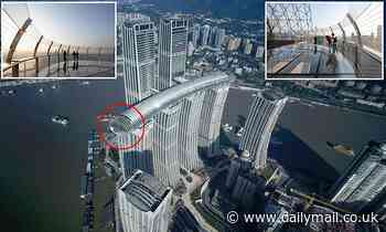 Glass-bottom observation deck jutting out from China's 'horizontal skyscraper' will open this week