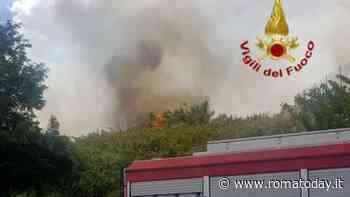 Incendio a Colle del Sole: bruciano sterpaglie vicino una polisportiva
