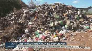 Lixo do ecoponto do Jardim Oriente em Piracicaba transborda e invade rua - G1