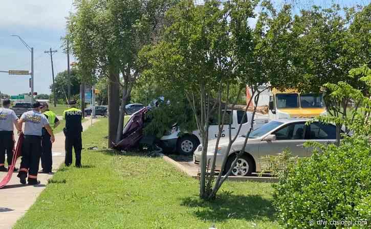 Driver Dies After Crashing Into Power Pole, Lewisville ISD Truck In Flower Mound