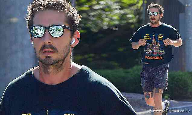 Shia LaBeouf rocks a Moscow T-shirt while staying in shape with a solo run near his Pasadena home - Daily Mail