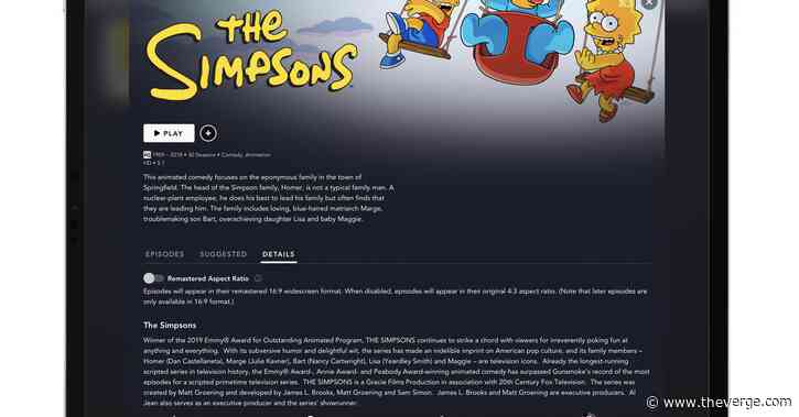 How to watch The Simpsons in its original aspect ratio on Disney Plus