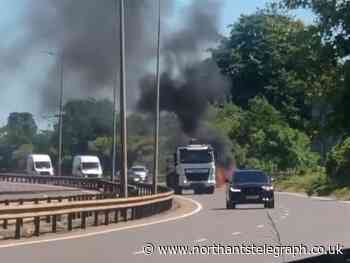 Blazing BMW blocks stretch of A45 in Northampton - Northamptonshire Telegraph