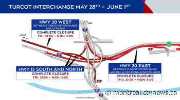 Montreal weekend traffic: Major closures at Turcot, Saint-Pierre interchanges - CTV News Montreal