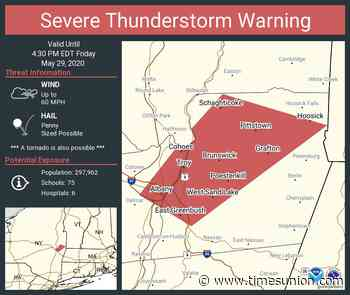 Thunderstorm warning issued for parts of Albany, Rensselaer counties