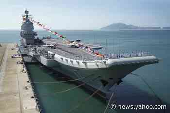 China home-built aircraft carrier conducting sea trials