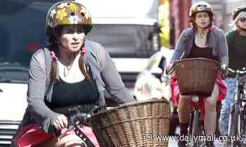 Helena Bonham Carter heads out for a bike ride with two pals in North London - Daily Mail